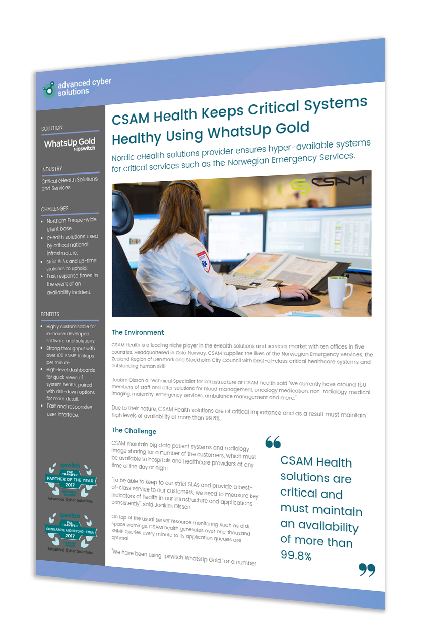 CSAM Health Keeps Critical Systems Healthy Using WhatsUp Gold