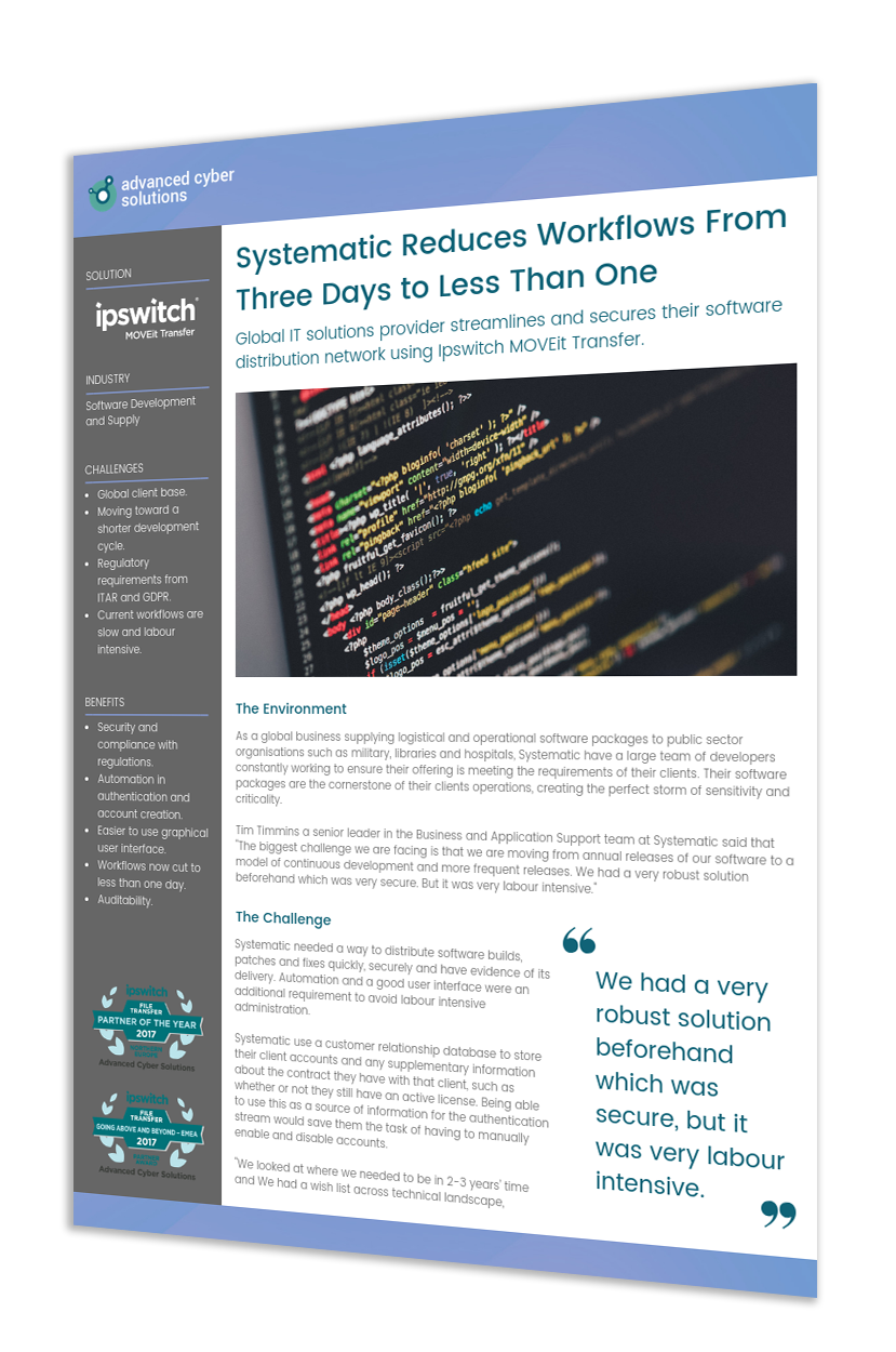 Systematic Improves Security and Reduces Workflows from 3 days to 1 day