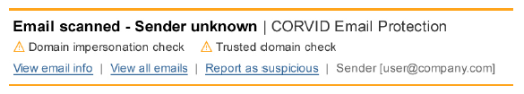 CORVID Email Protection for Domain Impersonation Attacks