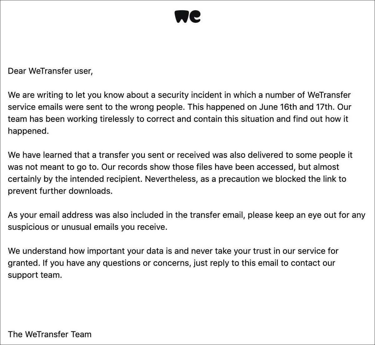 WeTransfer Email MFT Mistake