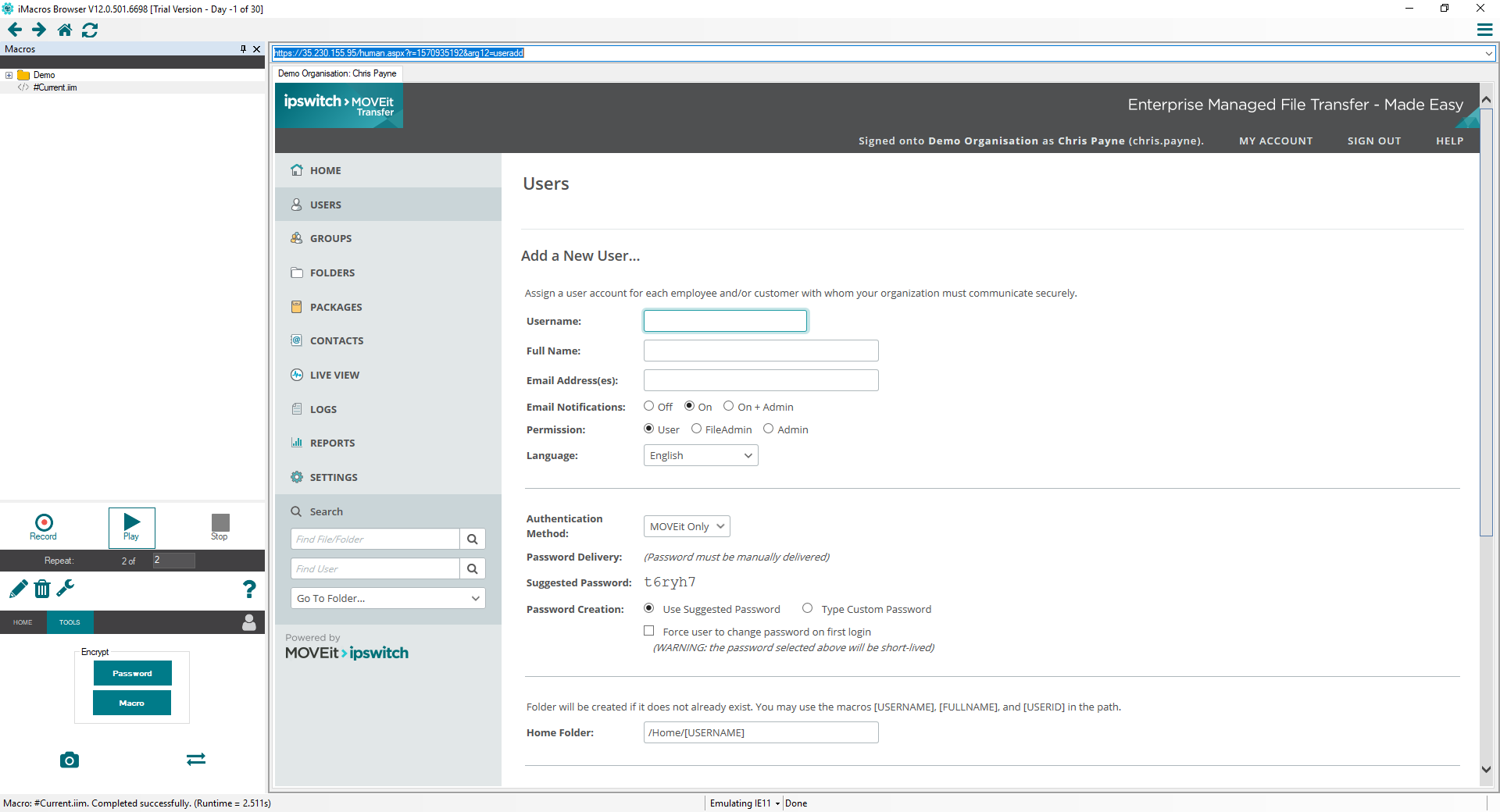 iMacros Automating the Import of 800 Accounts